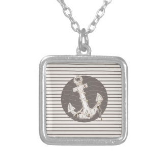 Preppy Nautical beige stripes beach Anchor Silver Plated Necklace