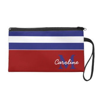 Preppy Nautical Blue and White Stripe Monogram Wristlet Clutch