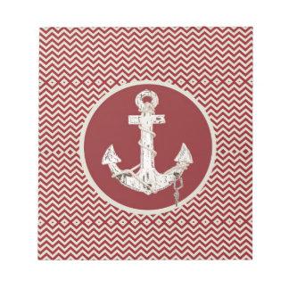 Preppy Nautical burgundy chevron beach anchor Notepad