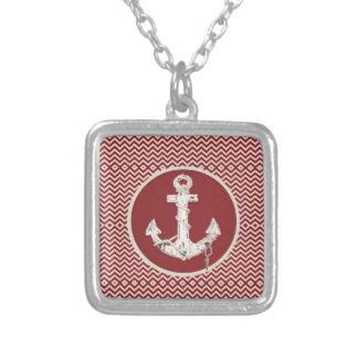 Preppy Nautical burgundy chevron beach anchor Silver Plated Necklace