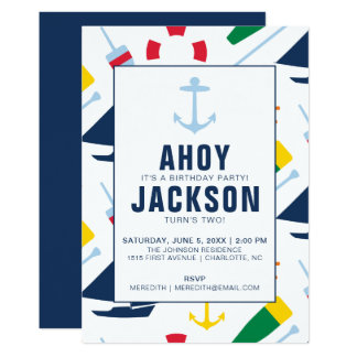 Preppy Nautical Children's Birthday Party Boy Card