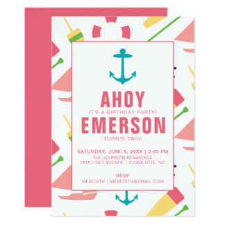 Preppy Nautical Children's Birthday Party Girl Card