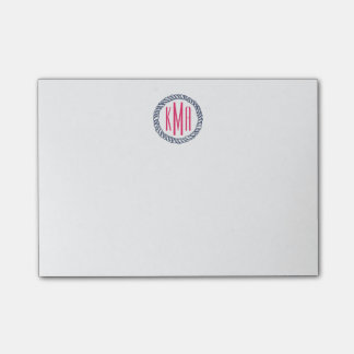 Preppy Nautical Navy & Pink Rope Monogram Post-it® Notes