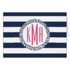 Preppy Nautical Navy & White Stripe Pink Monogram Card