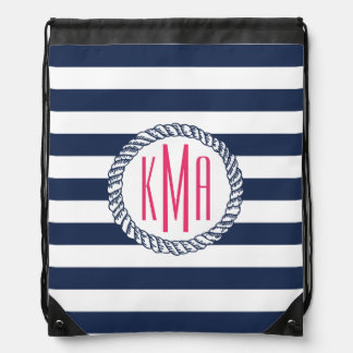 Preppy Nautical Navy & White Stripe Pink Monogram Drawstring Bag