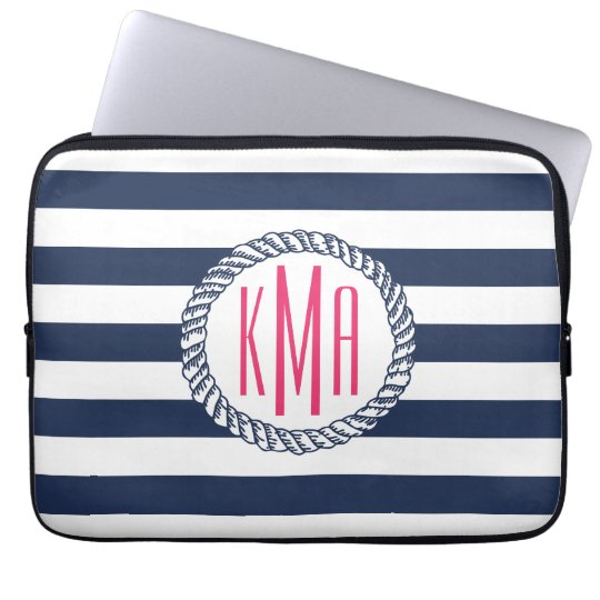 Preppy Nautical Navy & White Stripe Pink Monogram Laptop Sleeve