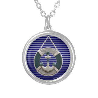 Preppy Nautical Stripes lifesaver beach Anchor Silver Plated Necklace