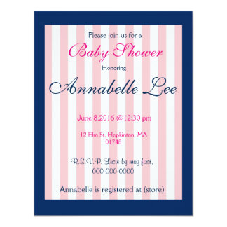 Preppy Navy and Pink baby Shower Invitation