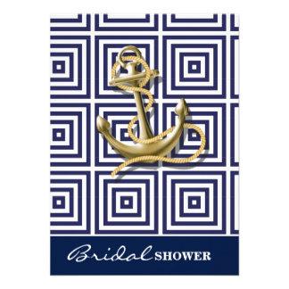 preppy navy blue pattern nautical anchor 11 cm x 16 cm invitation card