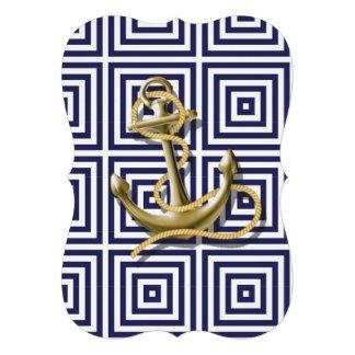 preppy navy blue pattern nautical anchor 13 cm x 18 cm invitation card