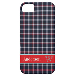 Preppy Navy Blue & Red plaid pattern iPhone 5 case