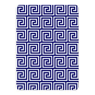 Preppy Navy Blue White Greek Key Pattern 14 Cm X 19 Cm Invitation Card