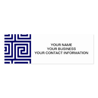 Preppy Navy Blue White Greek Key Pattern Business Card Template