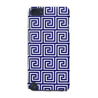 Preppy Navy Blue White Greek Key Pattern iPod Touch (5th Generation) Covers