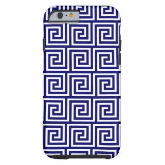 Preppy Navy Blue White Greek Key Pattern Tough iPhone 6 Case