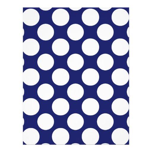 Preppy Navy Blue White Polka Dots Pattern Custom Flyer