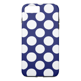 Preppy Navy Blue White Polka Dots Pattern iPhone 7 Plus Case