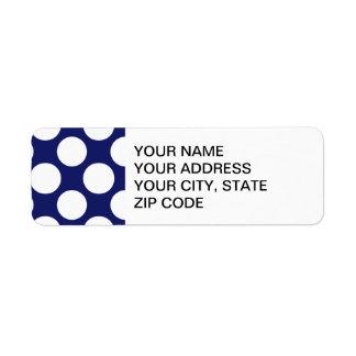 Preppy Navy Blue White Polka Dots Pattern Return Address Label