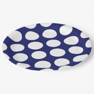 Preppy Navy Blue White Polka Dots Pattern 9 Inch Paper Plate