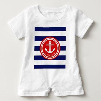 Preppy Navy Nautical Stripe Anchor Monogram on Red Baby Bodysuit