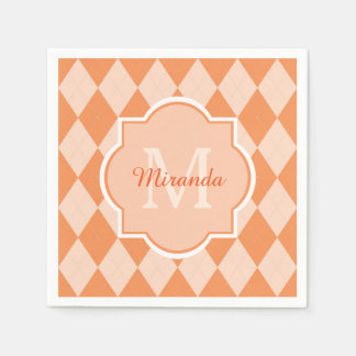 Preppy Orange Argyle Girly Monogram and Name Disposable Napkins