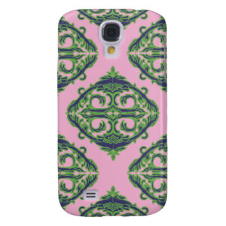 Preppy Pale Pink, Green & Blue Damask Galaxy S4 Covers
