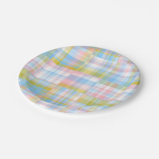 Preppy Patchwork Look Madras Pastel 7 Inch Paper Plate