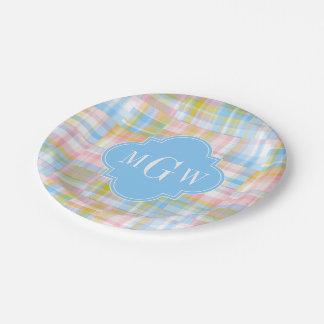 Preppy Patchwork Madras Pastel Quatrefoil Initials 7 Inch Paper Plate
