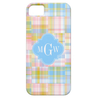 Preppy Patchwork Madras Pastel Quatrefoil Initials Barely There iPhone 5 Case
