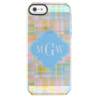 Preppy Patchwork Madras Pastel Quatrefoil Initials Clear iPhone SE/5/5s Case
