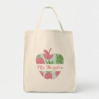 Preppy Pineapple Print Apple Personalized Teacher Tote Bag