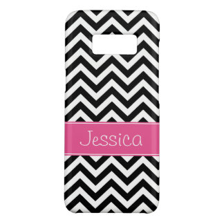 Preppy Pink and Black Chevron Pattern Personalized Case-Mate Samsung Galaxy S8 Case