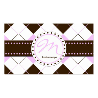 Preppy Pink and Brown Checker Patterns Business Card Template