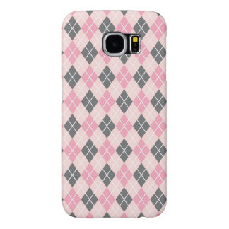 Preppy Pink and Gray Argyle Pattern Samsung Galaxy S6 Cases
