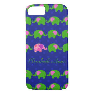 Preppy Pink and Green Elephants iPhone 7 Case