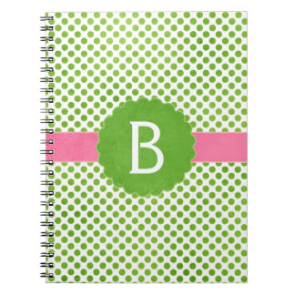 Preppy Pink and Green Monogram Polka Dots Spiral Notebook