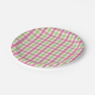 Preppy Pink and Green Plaid 7 Inch Paper Plate