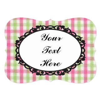 Preppy Pink and Green Plaid Card
