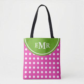 Preppy Pink and Green Polka Dot Monogram Tote Bag
