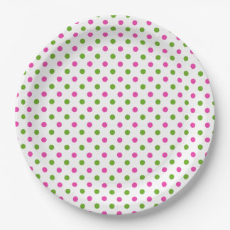 Preppy Pink and Green Polka Dots on White Paper Plate