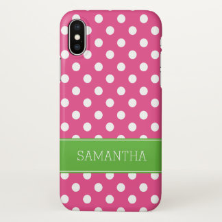Preppy Pink and Green Polka Dots Personalized iPhone X Case