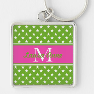 Preppy Pink and Green Stars Monogram Key Ring