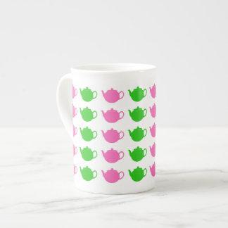 Preppy Pink and Green Teapots Bone China Mug