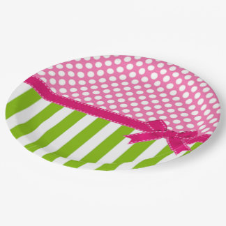 Preppy Pink and  Lime Green Striped 9 Inch Paper Plate