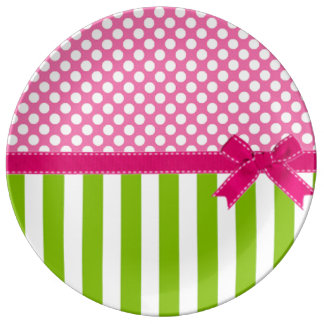 Preppy Pink and  Lime Green Striped Porcelain Plate