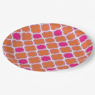 Preppy Pink and Orange Abstract 9 Inch Paper Plate
