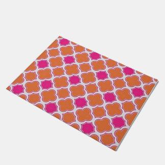 Preppy Pink and Orange Abstract Doormat
