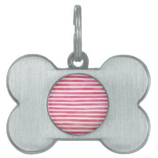 Preppy Pink Brushstroke Stripes Watercolor Pet Name Tag