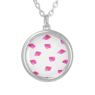 Preppy Pink Brushstroke Stripes Watercolor Silver Plated Necklace