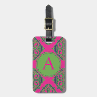 Preppy Pink Damask Luggage Tag